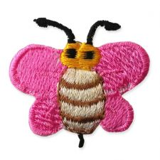 DARK PINK BUMBLE BEE MOTIF IRON ON EMBROIDERED PATCH APPLIQUE